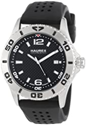 Haurex Italy Men's 3A500UNN Factor Stainless Steel Watch with Black Rubber Band
