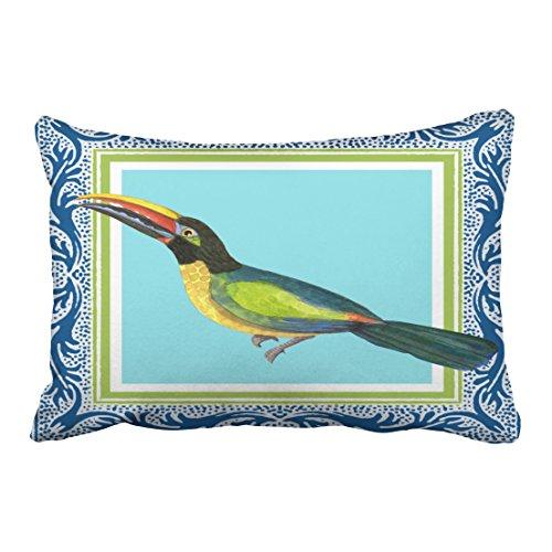 Emvency Decorative Throw Pillow Cover Queen Size 20x30 Inches Tropical Ocean Beach Toucan Bird Batik Pattern Art Outdoor Pillowcase With Hidden Zipper Decor Cushion Gift For Holiday Sofa - Garden Wall Batik