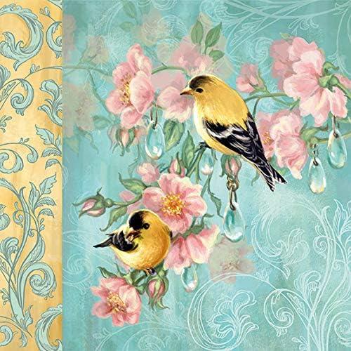 20 servetten vogelpaar aan ornamenten als tafeldecoratie en om te knutselen met servettechniek 33 x 33 cm
