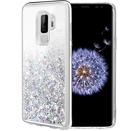 Caka Galaxy S9 Plus Case, Galaxy S9 Plus Glitter Case Bling Flowing Floating Luxury Glitter Sparkle Soft TPU Liquid Case for Samsung Galaxy S9 Plus (Silver)