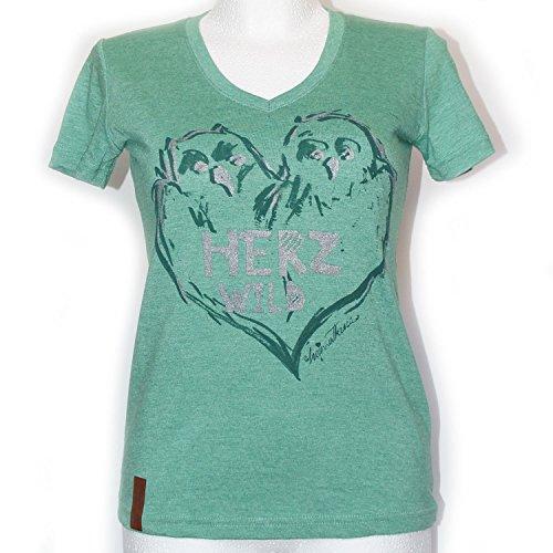T-Shirt, Damen V-Ausschnitt T-Shirt, Trachtenshirt, Herzwild, Eule, Grün, Metallic-Effekt