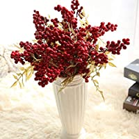 Mokylor 10 Pack Vivid Red Berries Artificial Flowers Lifelike Berries Beans Foam Fake Flower Christmas Fruit For Home Shop Living Room Party Decoration 39cm/15.35''