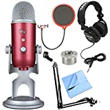 Blue Microphones Yeti Pro USB Microphone Bundle with Tascam TH-02-B Closed-Back Pro Headphones, Mic Suspension w/Boom Scissor Arm Stand, Wind Screen, Screw Thread Adapter and Microfiber Cloth