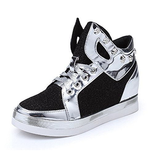 Btrada Casual Fashion Sport Sneaker Student Womens Low Top Lace Up Jogging Shoes Black xX1VlEFr4