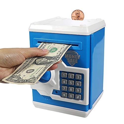 Kelibo Electronic Money Bank for Kids, Elctronic Password Security Piggy Bank Mini ATM Cash Coin Saving Box Smart Voice, Toy Gifts Birthday Gift for Children (Blue)