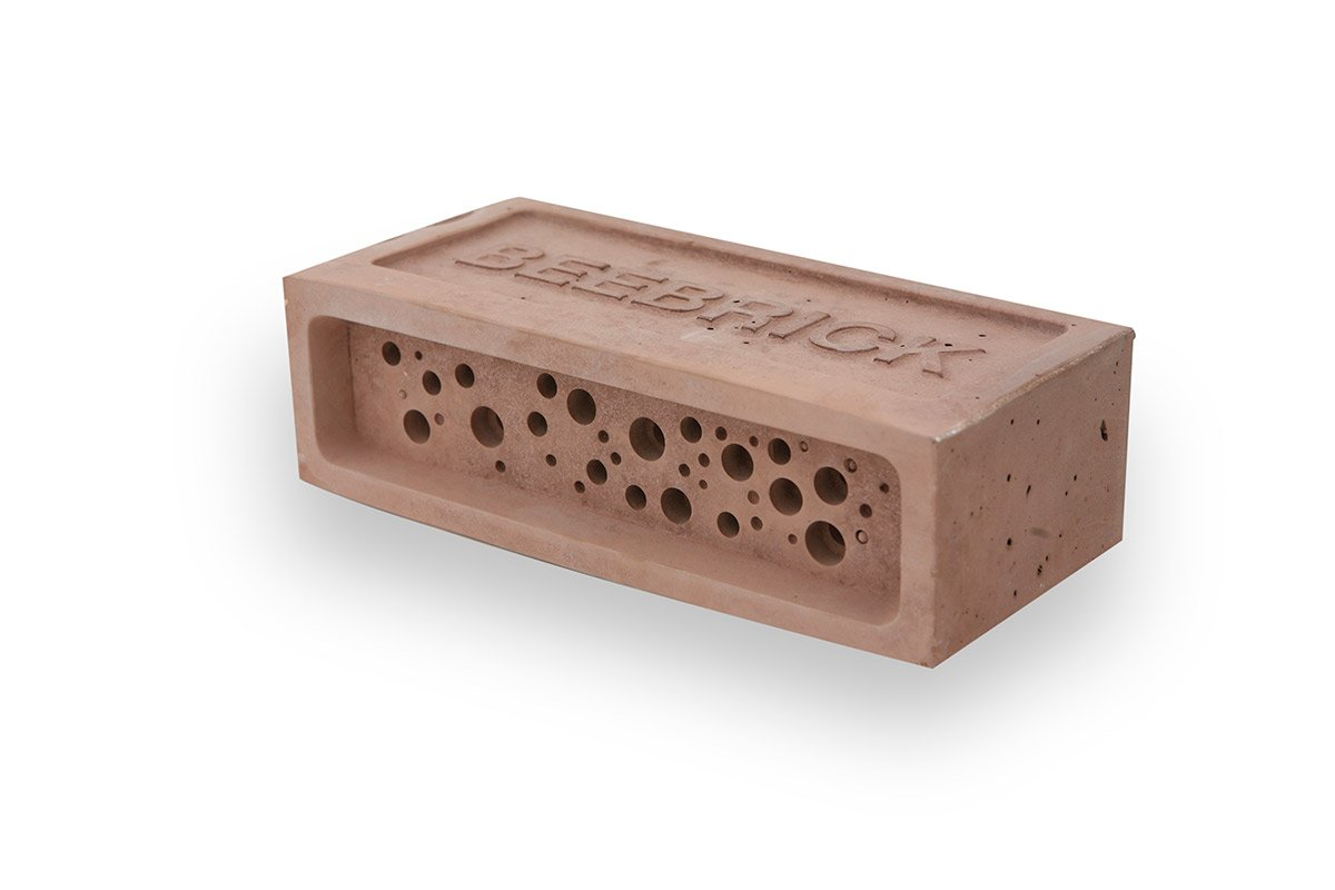 Bee Brick Nester Hotel Solitary Bee Hive House 21.5cm x 10.5cm x 6.5cm Red Green And Blue