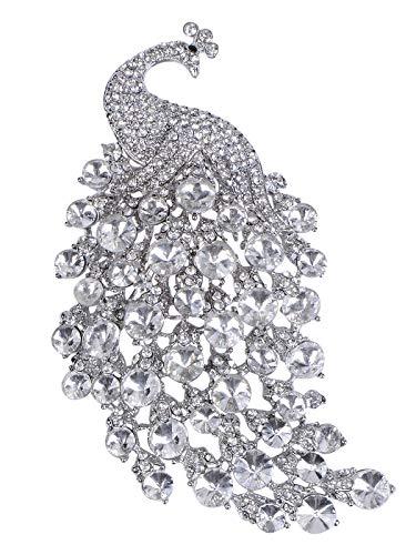 Alilang Women Silvery Tone Shiny Clear Swarovski Crystal Peacock Bird Brooch Pin