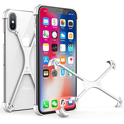 OATSBASF Bumper Case for iPhone X, Aluminum Metal X-Frame Support Wireless Charging Bumpers Compatible with 5.8 inches iPhone X