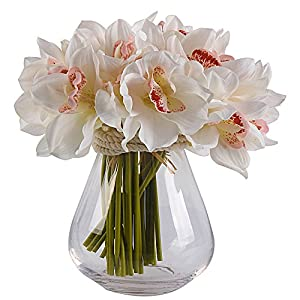 JAROWN Artificial Cymbidium Orchid Real Touch Flowers Bouquet for Kitchen Living Room Decoration 10