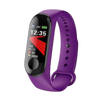 LJSHU Hombres y Mujeres Reloj Inteligente Ritmo cardíaco Monitor de presión Arterial Pantalla a Color Podómetro Deportivo Pulsera multifunción,Purple: ...