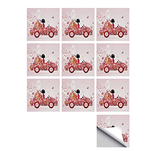 C COABALLA Cars Stylish Ceramic Tile Stickers 10 Pieces,Girl on a Car with Floral Present Boxes Butterflies Daisies Little Hearts for Kitchen Living Room,5