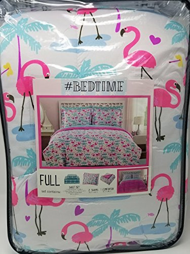 #Bedtime 5pc Flamingo and Palm Trees Full Comforter and Shee