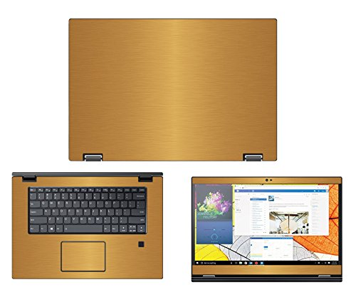 """Protective decal for Lenovo Flex 5 (15.6"""" Screen) Laptop GOLD Texture Brushed Aluminum skin case cover wrap - Decalrus BAFlex5_15Gold"""