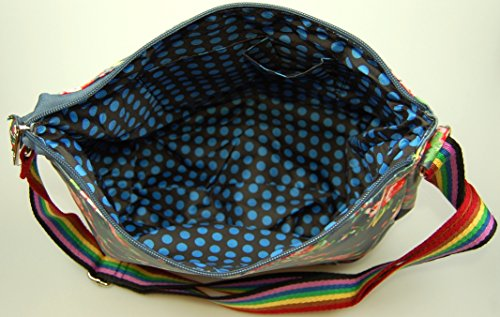 Carry-All Bag / Schultertasche Vintage Flowers dunkelblau