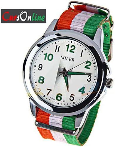 CursOnline Reloj unisex Pulsera tela con colores de la bandera de ...