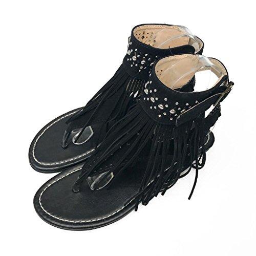 Summer Women Sandals, Lady Boho Flat Sandals Women Summer Flower Girls Flip Flops Beach Sandals - Heels Ladies Ankle Strap Buckle Shoes Flat Wedges Shoes Lovely Footwear Flip Flop Sandal Black