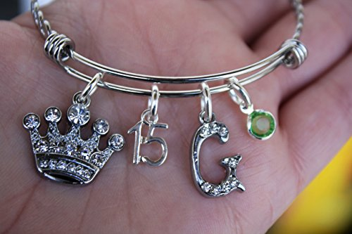 Custom Quinceanera Sweet 15 Birthday gift Bracelet Jewelry Charm bracelet ms. quince, your choice of letter and Birthstone, 15th birthday celebration gift