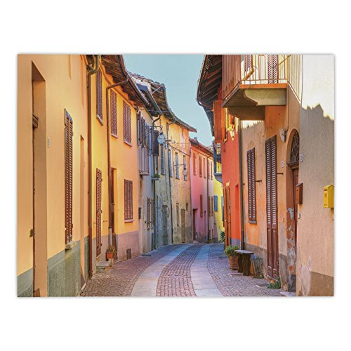 Polyester Rectangular Tablecloth,Italy,Narrow Paves Street Among Old Houses in Town Serralunga DAlba Piedmont Decorative,Pale Orange Brown Pink,Dining Room Kitchen Picnic Table Cloth Cover,for Outdoor