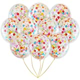 Rainbow Multicolor Confetti Balloons | Bright Colorful Confetti Pre-Filled | Wedding Engagement Birthday Party Events (10 Pack Rainbow, 18 Inches)