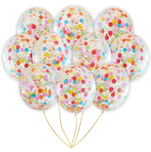 Rainbow Multicolor Confetti Balloons | Bright Colorful Confetti Pre-Filled | Wedding Engagement Birthday Party Events (16 Pack Rainbow, 18 Inches) ()