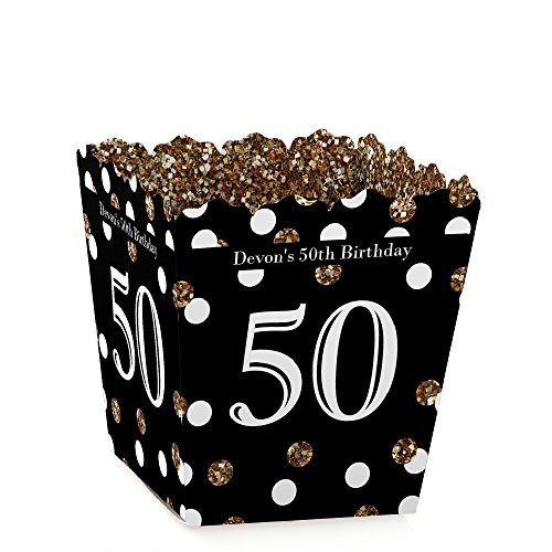 Custom Adult 50th Birthday - Gold - Personalized Candy Boxes Birthday Party Favors (Set of (50th Birthday Treats)