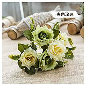 JIAHUAHUHH Single Bundle of European Artificial Flowers, Fake Flowers, Single Decorative Silk Flowers,Green,30cm 15