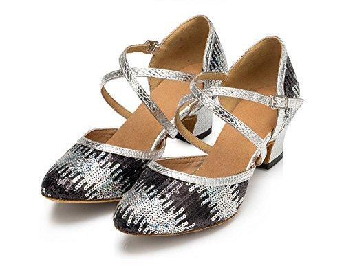 Miyoopark ,  Damen Tanzschuhe Black/Gold-5cm heel