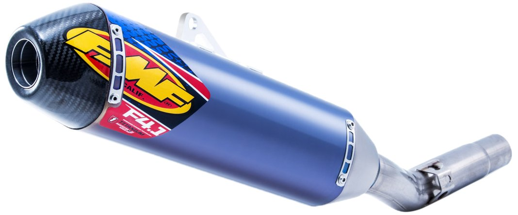 FMF 16-18 KTM 450SXF Factory 4 1 RCT Slip-On Exhaust (Blue Anodized  Titanium with Titanium Mid Pipe and Carbon Fiber End Cap)