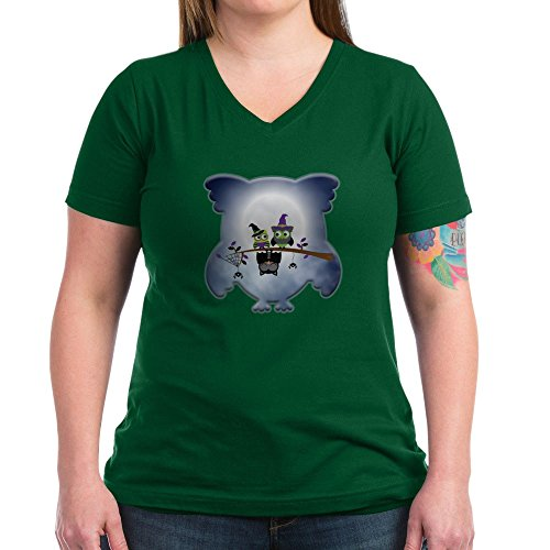 Truly Teague Women's V-Neck Dark T-Shirt Little Spooky Vampire Owl with Friends - Kelly Green, 3X -