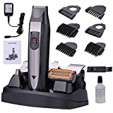 Mens Grooming Kit, PrinCare 5 in 1 Professional Adjustable Power Rechargeable Beard Trimmer/Cordless Clippers - 6 Function Head Electric Cordless Clippers for Hair, Beard, Nose and Body