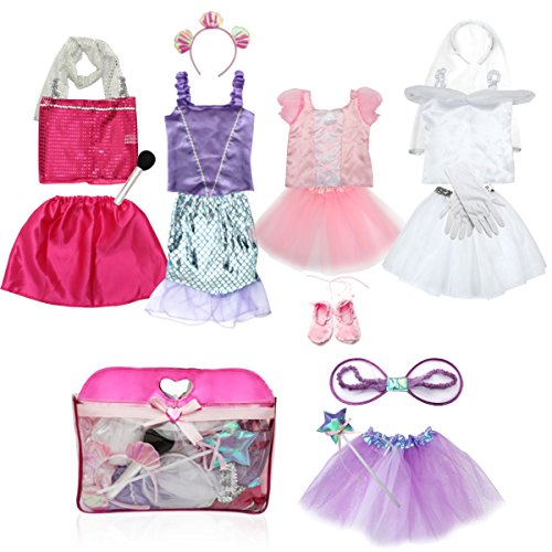 Girls Pop Fairy Costumes (Girls Dress up Costume Set Toiijoy Princess,Fairy,Mermaid,Bride,Pop Star Costume for Little Girls Toddler Ages 3-6yrs)
