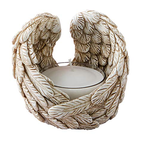 FASHIONCRAFT 47 Ivory Guardian Angel Wings Tealight Candle Holder Wedding Birthday Favors
