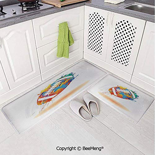 2 Piece Anti-Skid mat for Bathroom Rug Dining Room Home Bedroom,Bathroom Decor,Sports,Rugby Ball with Rainbow Brush Effects Filled Covered with Colors Sports Sign Leisure,Multicolor,16x24in,18x53in (Ospreys Home Rugby)