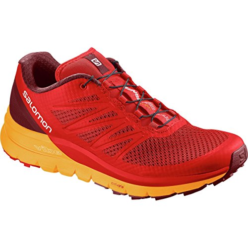 Salomon Men's Sense Pro Max Running Trail Shoes Fiery Red/Bright Marigold/Syrah 9