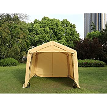 UHOM 10x10x8ft Instant Storage Garage Auto Shelter Steel Carport Canopy  Tent Sand