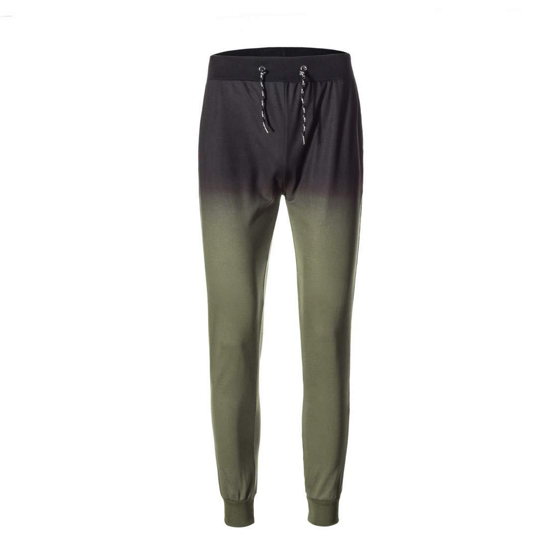 Mikey Store Mens Fashion Stripe Gradient Sweatshirt Top Pants Sets