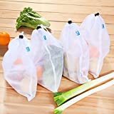 MIU COLOR® Reusable Produce Bags - White Color Mesh Bags - for Fruit and Vegetables