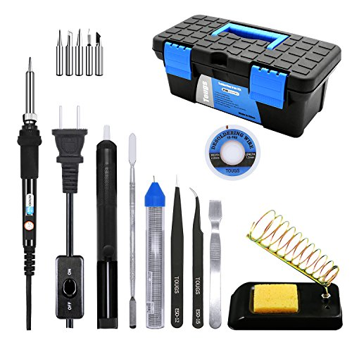 (TOUGS Soldering Iron Adjustable Temperature 60W Soldering Iron Kit 10 in 1 Full Set)