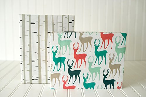 Christmas Tree Wrap (Christmas Reindeer/ Birch Trees (6 Sheet Value Pack) - Eco-friendly Wrapping Paper – Reversible - Gift Wrap by Wrappily)