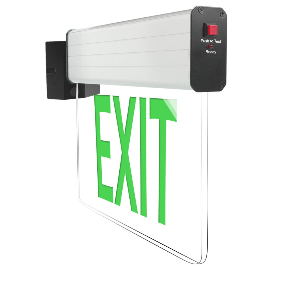eTopLighting [1 Pack] Edge Lit Exit Sign LED Light Panel, Green Lettering, Battery Backup, Transparent See Through, Mount on Wall and Ceiling, Rotary Surface Mounting, AGG2133 by eTopLighting (Image #3)