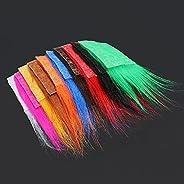 Tigofly 10 pcs 8X8cm 10 Colors Furabou Long Hair Craft Fur Synthetic Fiber Streamer Tail Wing Fly Fishing Tyin