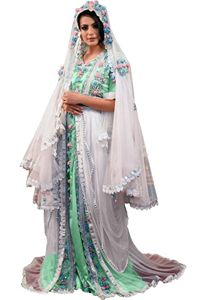 378235228d9 Kolkozy Fashion Women s Designer Handmade Arabic Moroccan Long Sleeve  Wedding Caftan with Veil White Size XS