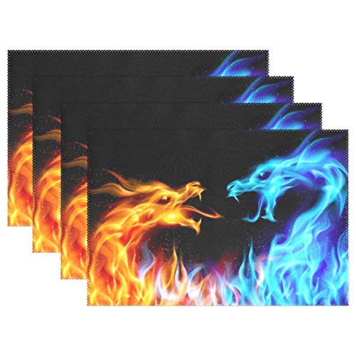 GREEDCLOUD Heat Resistant Placemats for Kitchen Table Mats for Dinning Room,Blue and Red Fiery Dragons Washable Insulation Non Slip Placemat 12x18 inch 6pcs