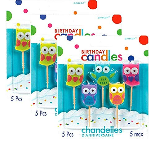 Party Time Molded Owls Birthday Toothpick Candles (Value 3-Pack; 15 candles) -