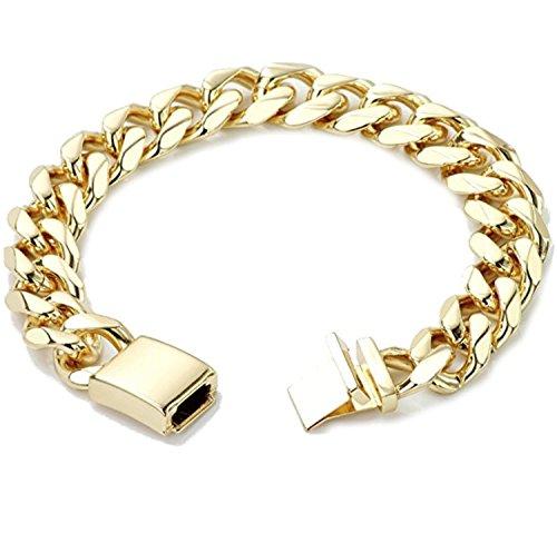 (Hollywood Jewelry Gold Chain Bracelet 9MM 14Karat Diamond Cut Smooth Cuban Link with A Warranty LifeTIime. USA Made 9Inch)
