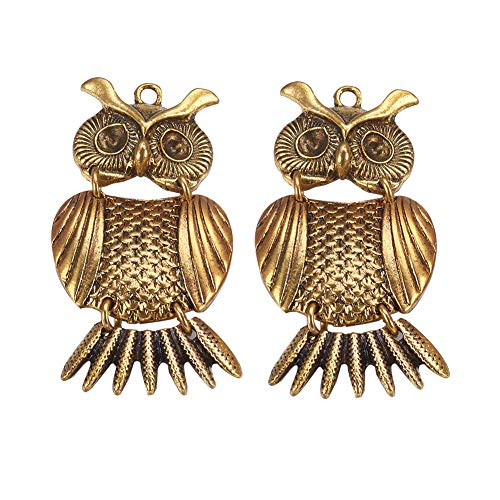 NBEADS 10 Pcs Antique Golden Alloy Rhinestone Owl Pendants Charm Necklace Pendant for Halloween Jewelry Making, Lead ()