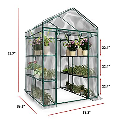 Home-Complete Green House HC-4202 Walk-in Greenhouse-Indoor Outdoor with 12 Sturdy Shelves-Grow Plants by Home-Complete