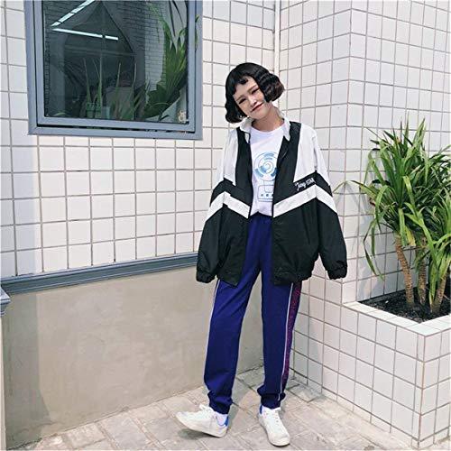 Eleganti Giacche Ragazze Autunno Giovane Relaxed Primaverile Maniche Outwear Women Libero Tempo Donna Tendenza Coat Giacca Leggero Sportivo Sportivi Bicolore Schwarz Lunghe ZIvFxzw
