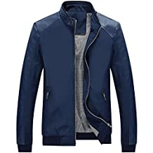 Partiss Men's Stand Collar PU Leather Sleeves Jacket