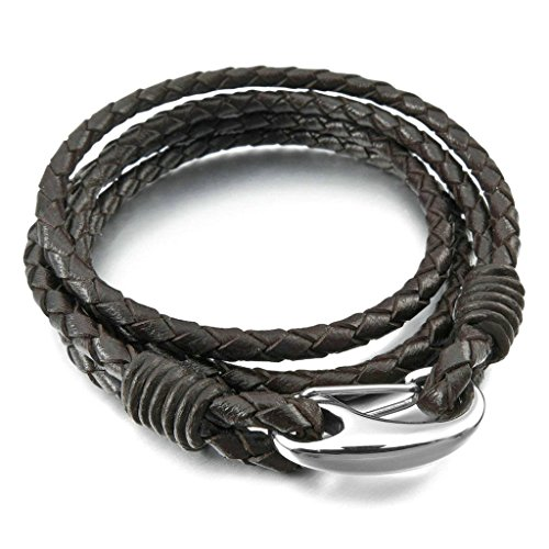 """Men's 4mm Stainless Steel Genuine Leather Bracelet Bangle Cuff Braided Brown Silver 8.5"""""""